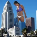 169786 - bikini_top brunette buildings city cleavage collage giantess panties sky skyscraper unknown_artist