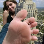170758 - atlanta barefoot city collage looking_at_viewer point_of_view sky skyscraper smile sole toes unknown_artist