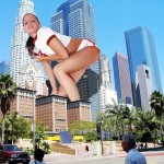 170991 - brunette cali_logan city collage giantess holding_bus looking_at_viewer low_angle sky skyscrapers street_view wonderslug