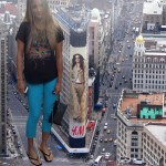 180158 - between_buildings blonde cars city collage downward_angle feet flipflops giantess looking_at_viewer lowerrider street