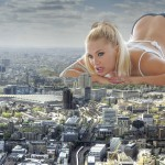 180501 - blonde buildings city clouds collage looking_at mega_giantess sky unknown_artist
