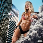 160910 - bikinis blonde breasts city cleavage collage destruction falling giantess handheld helicopter larissa_reis muscles skyscrapers small_man smoke upward_angle wiouag1