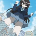177934 - accident anime brown_eyes brunette city_destruction in_city school_uniform striped_panties upskirt