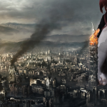 178804 - barefoot burning collage destroyed_buildings destruction giantess mega_giantess redheaad red_hair shelle-chii